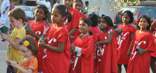 Red Rally: the inmates of Annai Velanganni orphanage on the parade